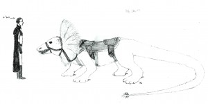A scale drawing of a Heth, the furry creatures Kraesinions and humans ride into battle.
