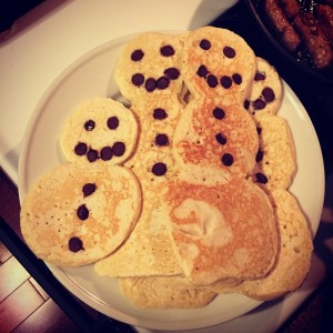 Our snowman pancakes when I was done with them - a little messy but really cute and easier than I expected to make.