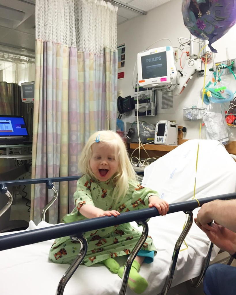 Here is our sweetie about to have an angiogram this week. She is such a sunny little person!